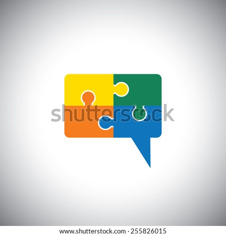 vector icon of talk or chat icon or speech bubble as puzzle. This graphic can represent communication process, people interaction, speech & understanding, discussion & listening, know & learn - stock vector