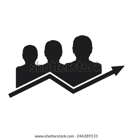 Vector icon of the good team work. Black icon on a white background for printing in the newspaper. - stock vector