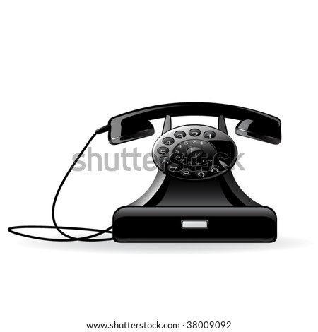 Vector icon of the telephone. Retro style