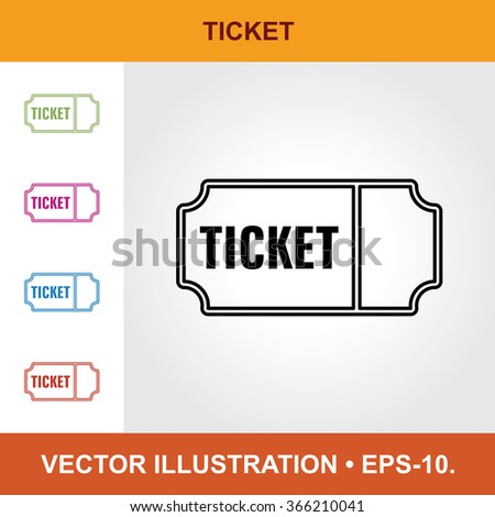 Vector Icon Of Ticket With Title & Small Multicolored Icons. Eps-10. - stock vector
