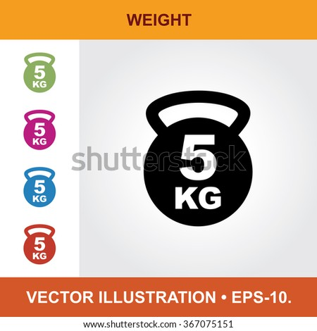Vector Icon Of Weight With Title & Small Multicolored Icons. Eps-10. - stock vector