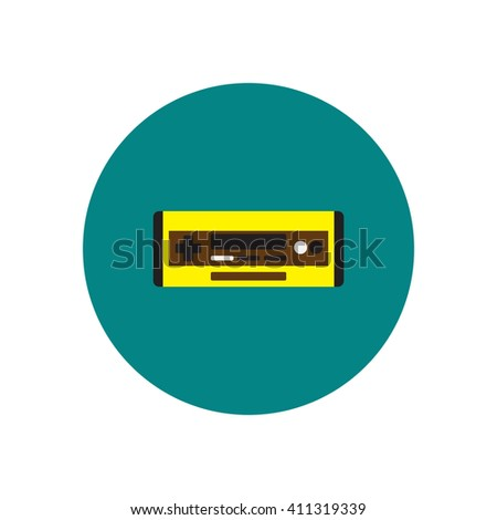 Vector icon on the white backgrounds in circles car radio - stock vector
