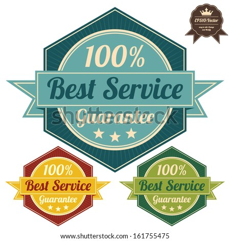 Vector : Icon Quality Assurance and Quality Management Concept Present By Colorful Vintage Style Hexagon Icon or Shield With 100 Percent Best Service Guarantee Isolated on White Background  - stock vector