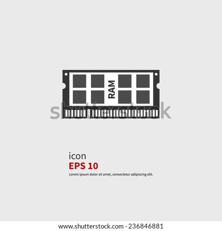 Vector Icon ram. Black silhouette - stock vector