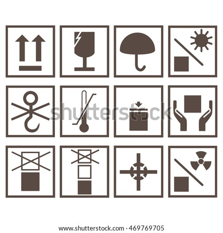 Vector icon set, collection packaging symbols isolated on white background