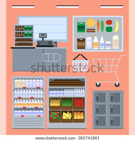 Vector icon set: counter, shelf, freezer, shopping cart, shopping basket, safe boxes, pos terminal, fruit, vegetable, drink. Vector set with shop interior elements. Flat vector grocery shop icon set - stock vector