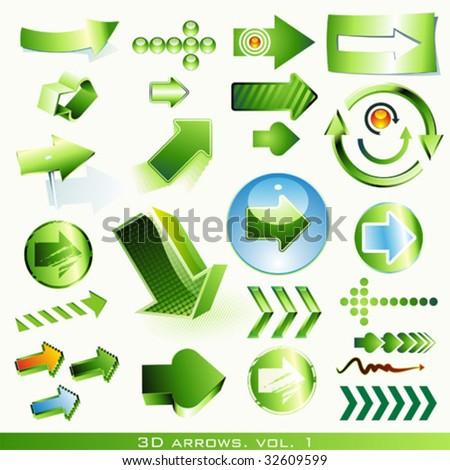vector icon set: 3d arrows (green) - stock vector