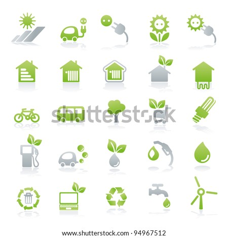 vector icon set energy + green lifestyle - stock vector