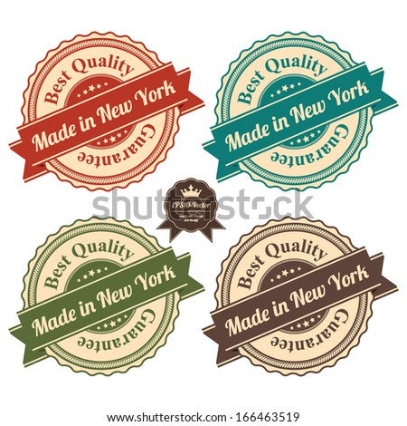 Vector : Icon Set for Quality Assurance and Quality Management Concept Present By Circle Colorful Vintage Style Icon With Made in New York Best Quality Guarantee Isolated on White Background  - stock vector