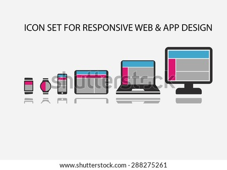 Vector icon set for responsive app development and web development on mobile devices such as smart phone, smart watch, wearables, tablets, notebooks and computers.  - stock vector