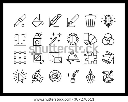 Vector icon set in a modern style. A set of professional creative tools for the designer, creating interfaces, drawing sketches, ui ux design. - stock vector