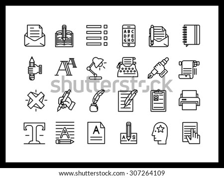 Vector icon set in a modern style. Creative tools, set for the writer, printing, editing, and modifying files, - stock vector