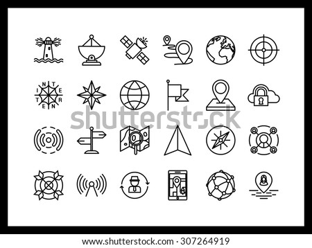 Vector icon set in a modern style. Navigation and mapping, search facilities, network, communication signal, location and construction of the route. - stock vector