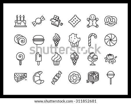 Vector icon set in a modern style. Sweets and pastries, ice cream, candy and chocolates, biscuits and cookies. - stock vector