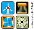 Vector icon set of alternative energy sources: wind power, solar energy and heating, and hydroelectricity - stock vector