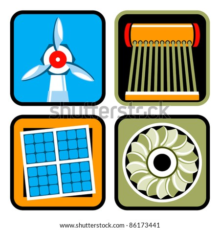 Vector icon set of alternative energy sources: wind power, solar energy and heating, and hydroelectricity