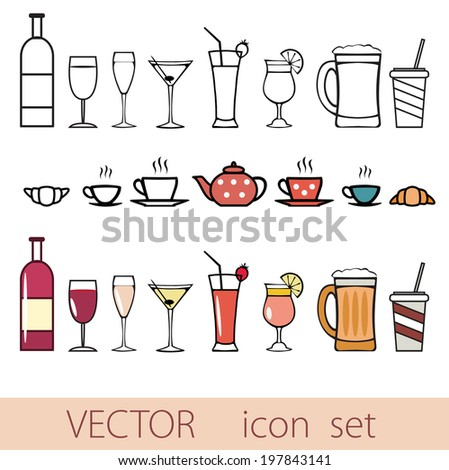vector icon set of drinks,Line and color isolated - stock vector