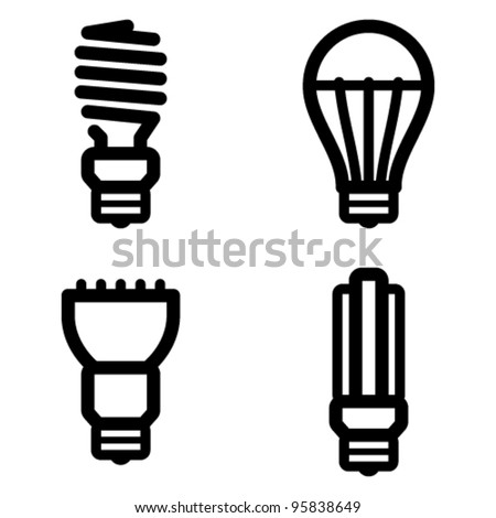 Vector icon set of energy saving and LED light bulbs - stock vector