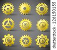 Vector icon set of gears. Vector Illustration, contains transparencies. - stock vector