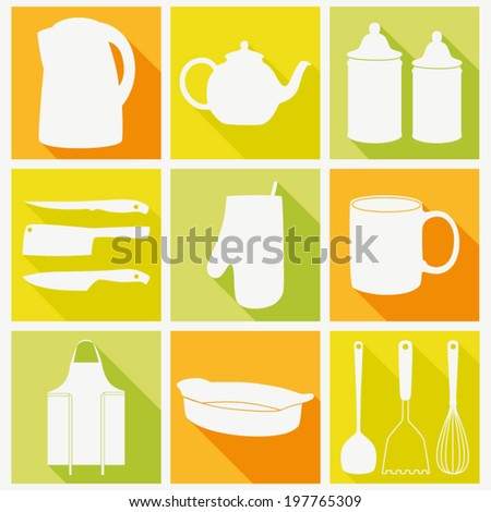 Vector icon set of kitchen tools. Flat cooking icon collection. - stock vector