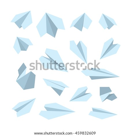 vector icon set of Origami plane collection. Handmade paper plane isolate on white background