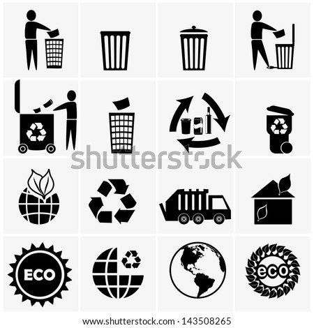 Vector icon set of recyclable materials for waste management - stock vector