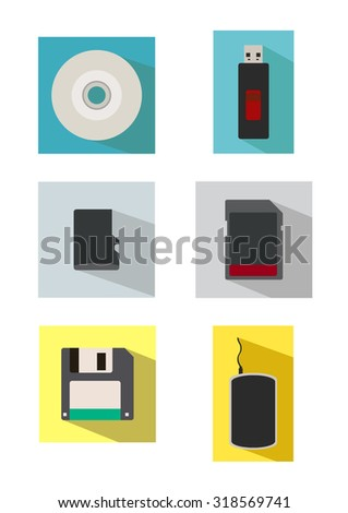Vector icon set of storage media in flat style - stock vector
