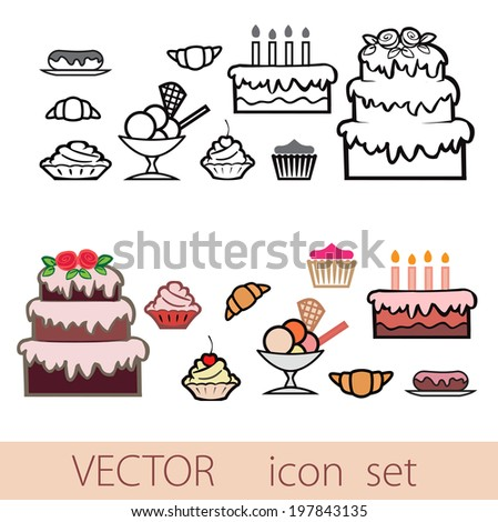 vector icon set of sweets,Line and color isolated - stock vector