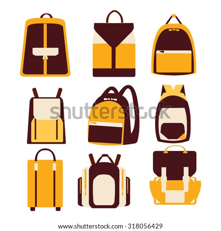 Vector icon set of various bags, knapsack and backpacks-illustration - stock vector