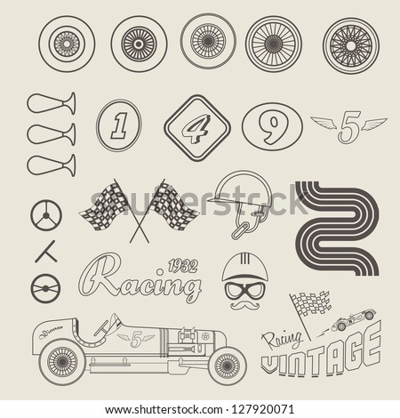 Vector icon set of vintage car racing - stock vector