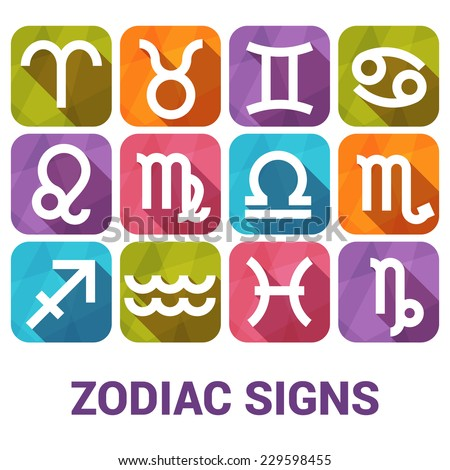 Vector icon set of Zodiac Signs in flat style. - stock vector