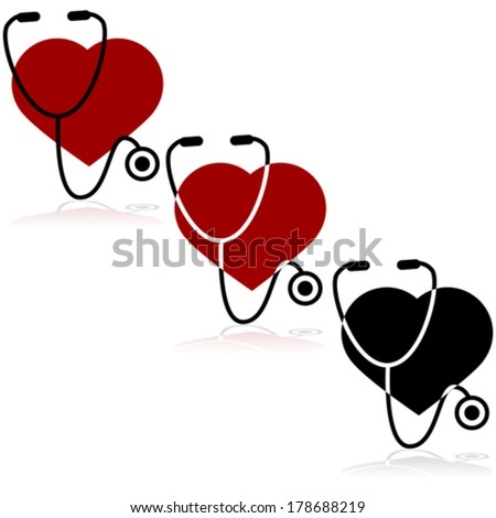 Vector icon set showing a heart and a stethoscope - stock vector