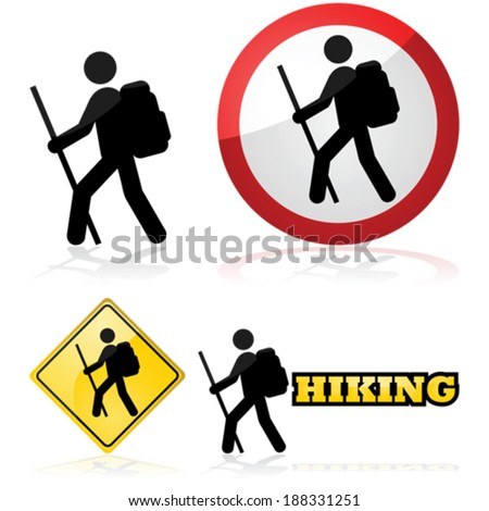 Vector icon set showing a man hiking carrying a backpack and a stick - stock vector