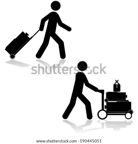 Vector icon set showing a man pulling a piece of luggage or carrying multiple items with a cart