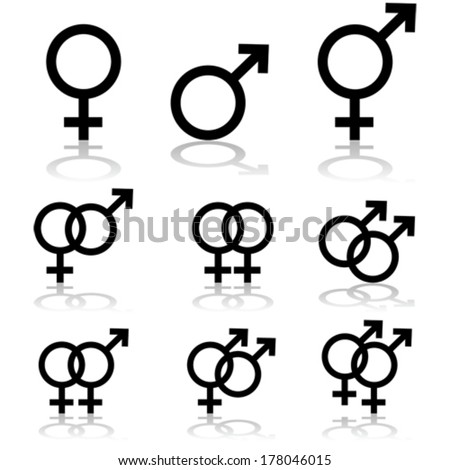 Vector icon set showing signs for males, females and transgendered people, and the relationships between them - stock vector