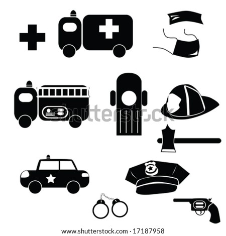 Vector icon set with different emergency elements from firemen, police and ambulance. For jpeg version, please see my portfolio.
