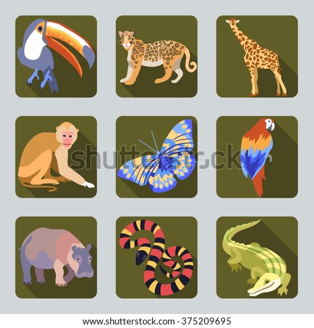 Vector Icon set with silhouettes of Tropic wild animals on green buttons. Toucan, leopard, giraffe, butterfly, parrot, hippo, python, monkey, crocodile in flat design cartoon style. - stock vector