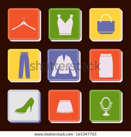 vector icon set women's clothing - stock vector