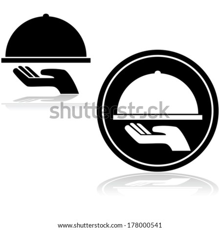 Vector icon showing a hand carrying a covered food tray - stock vector