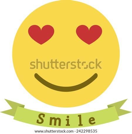 Vector icon smiley, love emoticon - stock vector