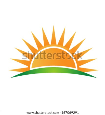 Vector Icon Sun over horizon  - stock vector