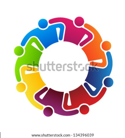 Vector Icon Teamwork hugging 8 - stock vector