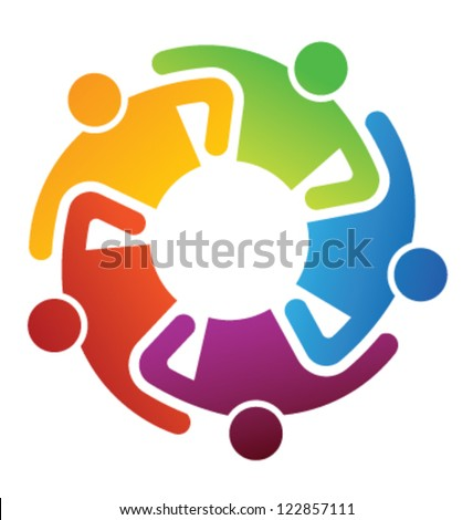 Vector Icon Teamwork Hugging. Group of People - stock vector