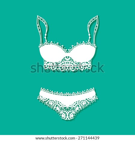 vector icon with a sketch of women's underwear - stock vector