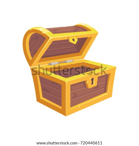 Vector icon with cartoon opened empty wooden pirate chest with golden metal stripes and keyhole on white background
