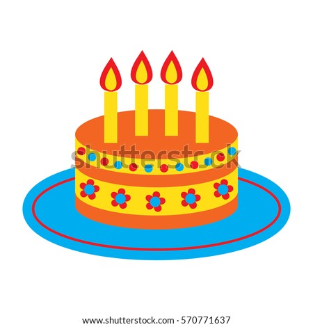 Vector Icon With Cute Bright Birthday Cake And Four Candles Isolated On The White Background