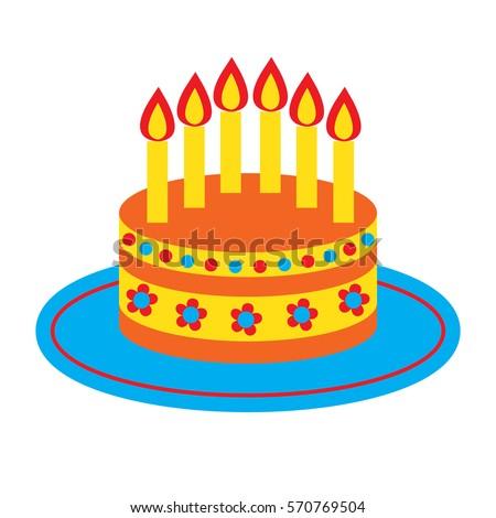 Cartoon Birthday Cake With Candles