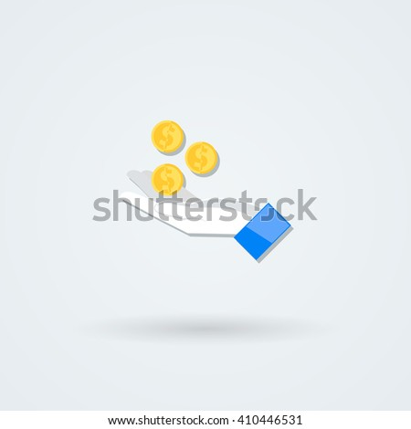 Vector icon with hand holding the coins and credit cards. Monoicon. Logo. - stock vector