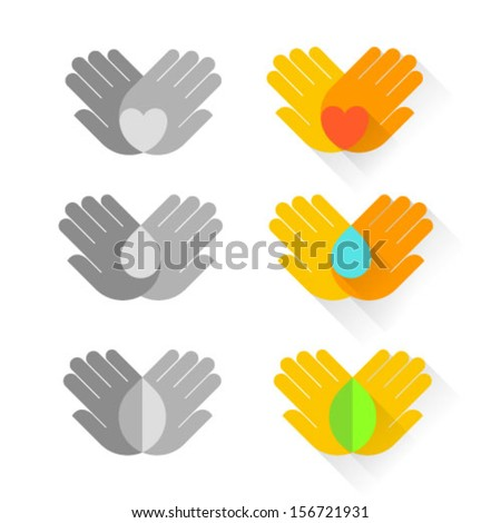 Vector icon with hands. Care symbols of children, about health, the nature and environment