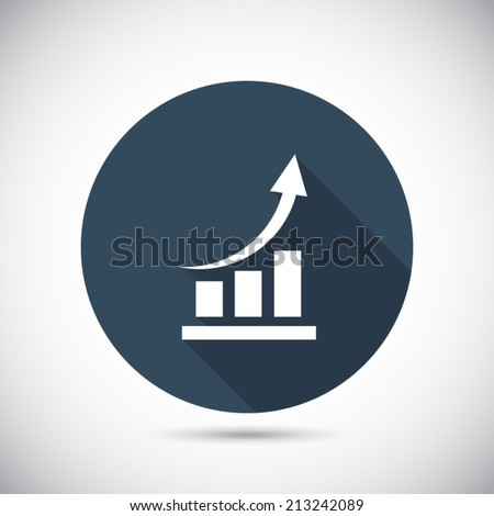 Vector icon with long shadow. Flat design style - stock vector